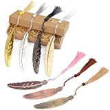 SUMAJU 7 Pieces Metal Feather Bookmarks, Vintage Feather Bookmarks with Tassels and Beaded for Adults and Kids-Feather Shaped Bookmarks for Office and School Supplies
