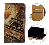 Sunrive Hülle Für WIKO View 2 PRO, Magnetisch Schaltfläche Ledertasche Schutzhülle Hülle Handyhülle Schalen Handy Tasche Lederhülle(Muster Maple Tower)+Gratis Universal Eingabestift