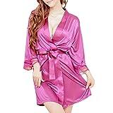 ruiruiNIE Short de Estilo Kimono para Mujer Albornoz con Cuello en V Bata Lisa Bridal Party Robe - Hot Pink