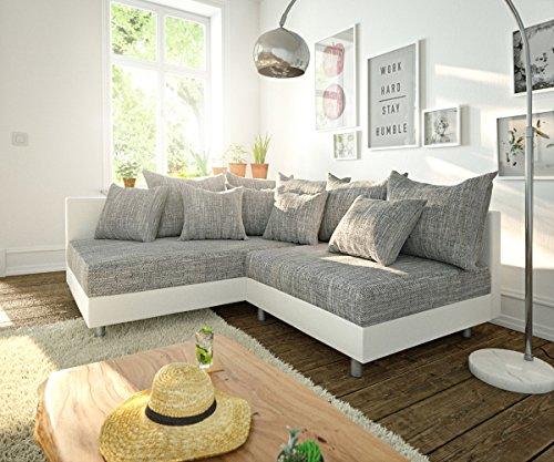 DELIFE Couch Clovis modular - Ecksofa, Sofa, Wohnlandschaft & Modulsofa (Grau/Weiss, Ecksofa Links)