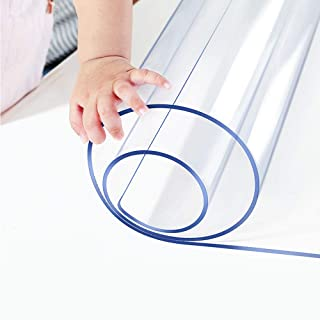 Clear Heavy Plastic Table Protector PVC Tablecloth Cover Vinyl Table Cloths Easy Clean Waterproof Wipeable Furniture Topper Pad for Dining Living Room Coffee Tables Mat Desk Pad Rectangle 36X60 Inch
