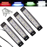 Electrely 4 Pezzi Luci di posizione laterali indicatori laterali per rimorchio, 12V 6 LED, universali per rimorchio, camion, caravan, camper, trattore, bus (bianco)