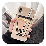 新しい漫画3Dミルクティーおかしい電話ケースFor IPhone X XS最大XRソフトシリコーンカバー7 8 6 6 sプラスドリンクカップ-For iphone XS Max-