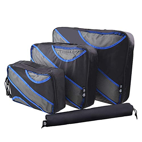 Desconocido JIER 4 Set Cubos de Embalaje, Organizadores para Maletas, Travel Packing Cubes, Equipaje de Viaje Organizadores, con Bolsa de Zapatos, Bolsa de Cosméticos (Negro)