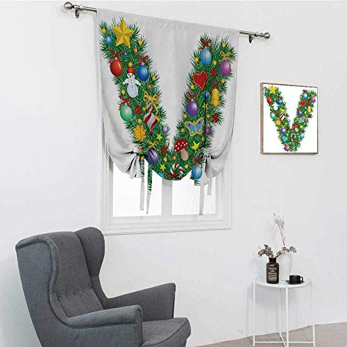 GugeABC Letter V Window Shades for Home, Ornament Christmas Tree Design Capitalized V Festive Elements Bells Candies Print Tie Up Curtains for Window, Multicolor, 42' x 72'