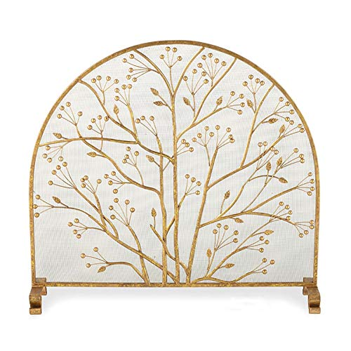 Affordable European Style Hearth/Fireplace Screen Gold, Wrought Iron Frame with Metal Mesh丨 Free S...