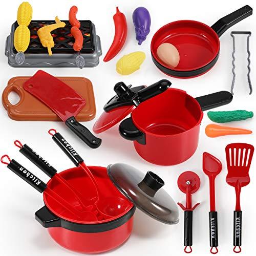 GeyiieTOYS Juego de utensilios de cocina para niños, juego de cocina con...