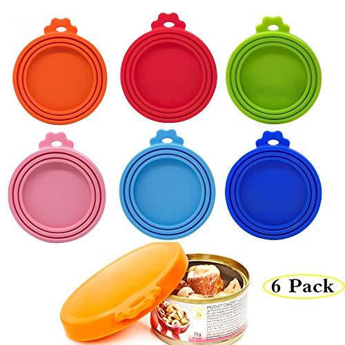 6er Pack Dosendeckel für Tierfutter, Tierfutter-Dosendeckel, Silikondeckel für Dosenfutter, Silikon Deckel für Haustier Lebensmitte-3 in1 Größe-Universal-Dosendeckel für Tierfutterdosen, BPA-frei