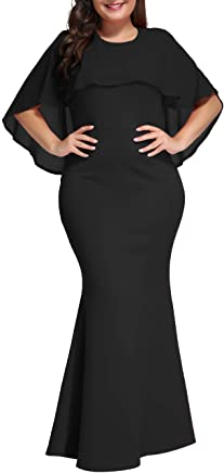 06874404101 Lalagen Womens Ruffle Mermaid Formal Gown Plus Size Evening Party Maxi Dress  Black XXL