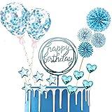 BOYATONG 17 piezas de decoración para tartas, decoración para tartas Happy Birthday, decoración para tartas con purpurina, decoración para tartas con estrellas, globos de confeti y abanicos de papel
