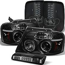 For 2004-2008 Ford F150/Lobo Black Smoke Halo Projector Headlights + LED Tail Lights + Smoked LED 3rd Brake Lamp 2005 06