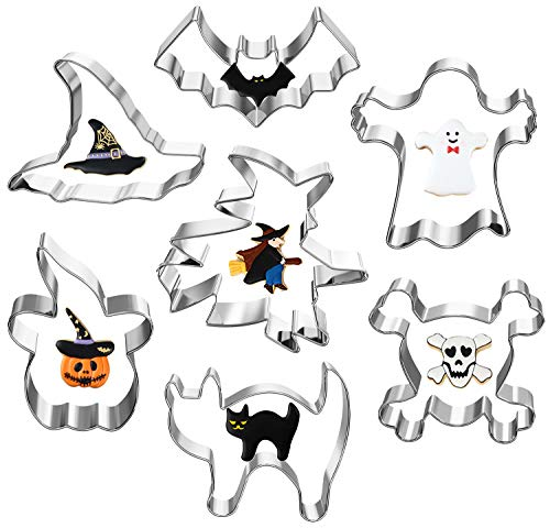 Halloween Cookie Cutters, Hibery 7 Pcs Holiday Cookie Cutters Shapes with Pumpkin Cookie Cutters, Bat, Ghost, Skull, Cat, Witch & Witch Hat