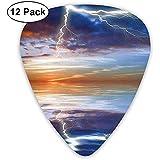 Gitarre Picks 12-Pack, Blitz über dem Meer mit Reflexionen Sturm Thema Mutter Erde Zen Dekor Bild