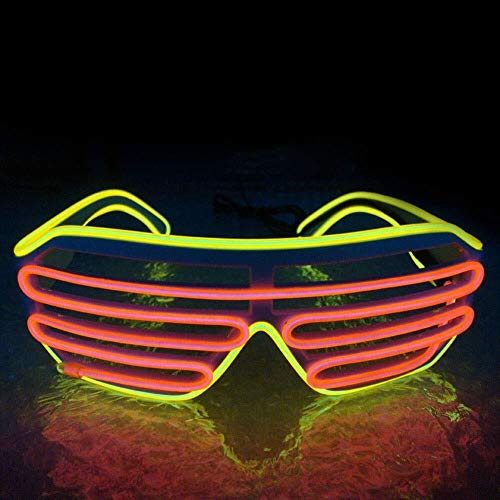 Miaoao EL Draht Neon LED-Gläser for Rave-Kostüm-Party DJ-Musik-Party Halloween, EL-Draht-LED leuchtet Luminous Shutterbrille W/Batterie-Kasten-Controller (Farbe : Yellow Frame+red)