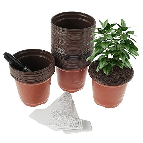 100 PCS Pflanzentopf aus Kunststoff, 10cm Rund Plastik Blumentopf, Pflanztopf für Sämlinge und Stecklinge, Anzuchttöpfe mit 100 Pflanzenmarkern und 2 Signaturstift