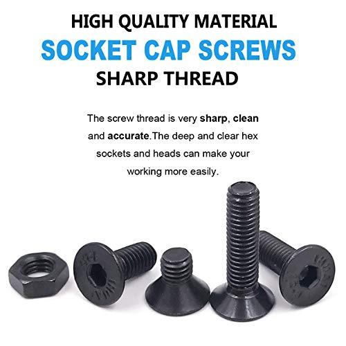 Comdox 500pcs Alloy Steel Socket Cap Screws Hex Head Bolt Nuts Assortment Kit with Box, M3 M4 M5 Thread Size, Black Oxide Finish (Flat Head)
