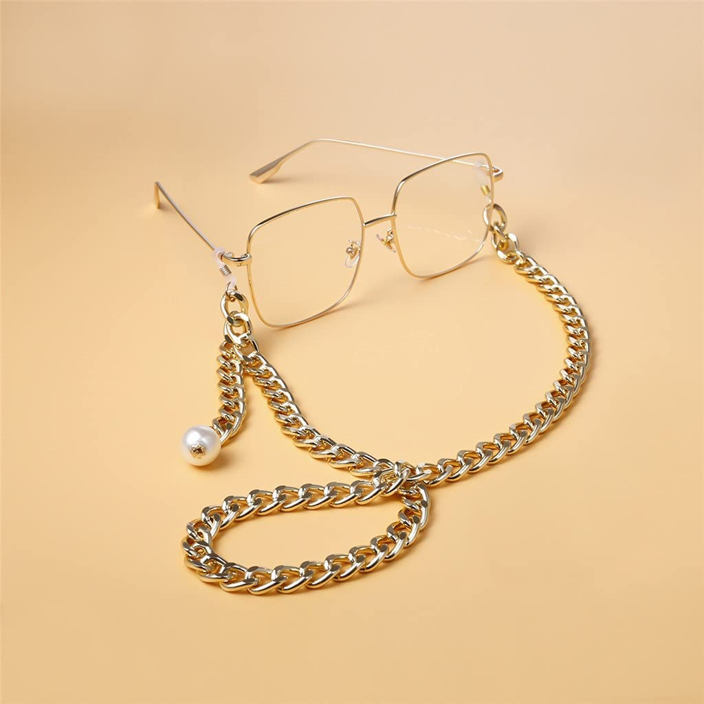 NJBYX Thick Chain Punk Imitation Pearl Lanyard Reading Glasses Chain Women Accessories Men Sunglasses Hold Straps Cords (Color : A, Size : Length-70CM)