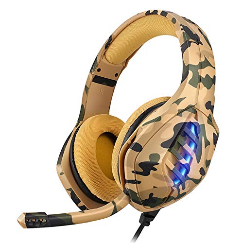 YING PS4 PC Gaming Headset, Stereo Noise-Cancelling Gaming Headset PS4, with Noise-Cancelling Microphone LED Light And Game And Chat Volume Control 3.5Mm Laptop Switch Computer Tablet,Yellow