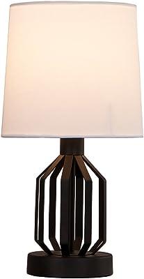 SOTTAE Modern Black Lamp Hollowed Base Living Room Bedroom Bedside Table  Lamp, Desk Lamps With