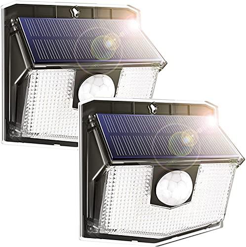 Luci Solari Esterno,140 LED Lampada Solare da Esterno Luce Led Esterno Solare di Movimento, 270ºIlluminazione wireless Lampada Solare per Giardino[2 Pezzi]
