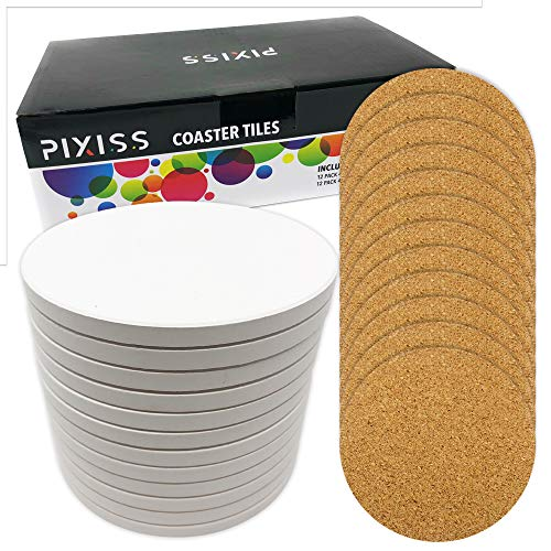 Ceramic Tiles for Crafts Coasters,12 Ceramic White Tiles Unglazed 4-Inch Cork Backing Pads