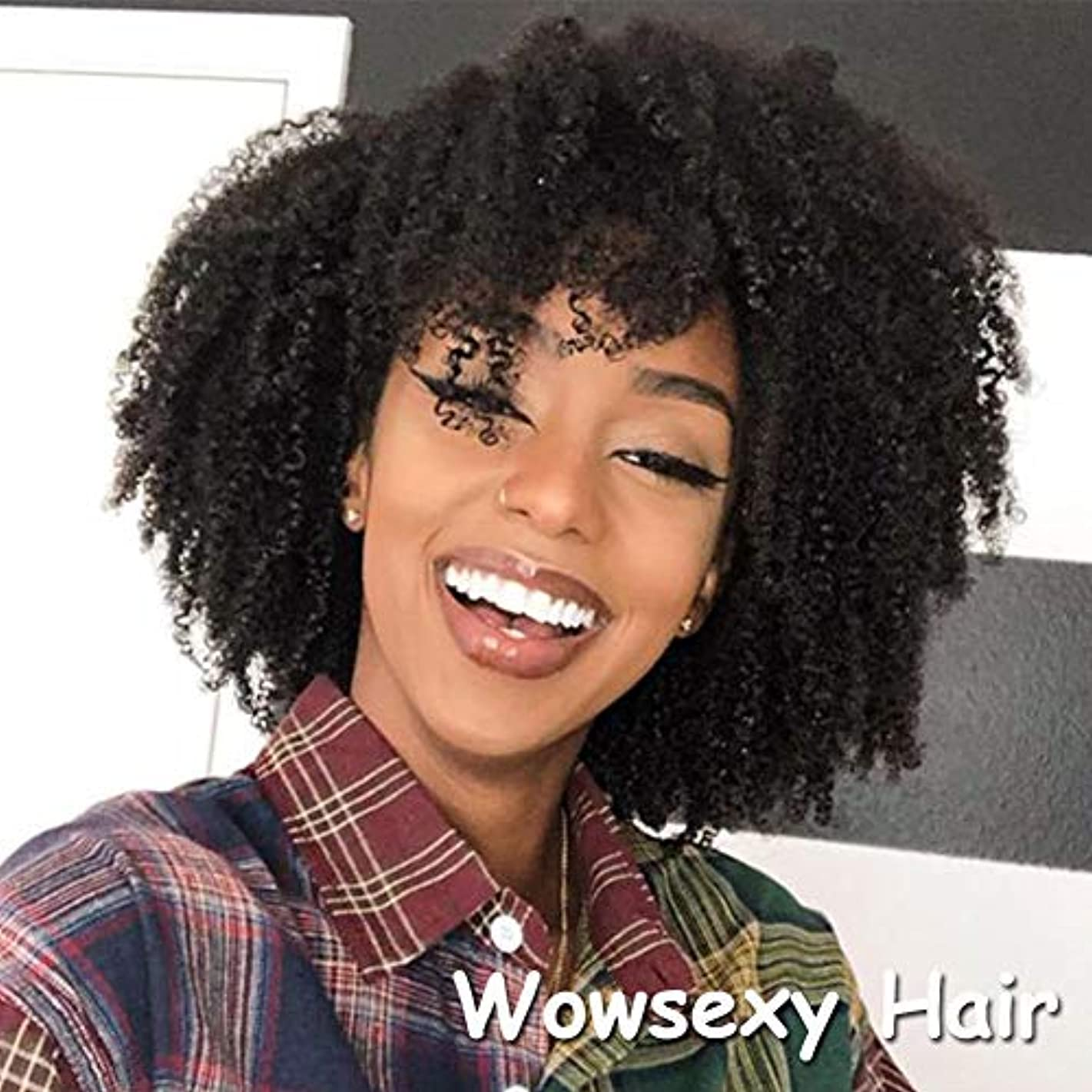 Wowsexy Hair 150% Density Afro Kinky Curly Full Lace Human Hair Wig Free Part Short Bob Brazilian Remy Lace Front Human Hair Wig Natural Color Glueless (10 inch, Lace Front Wig)