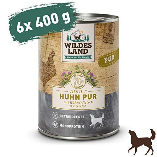 Wildes Land | Nassfutter für Hunde | Huhn PUR | 6 x 400 g | mit Distelöl | Getreidefrei & Hypoallergen | Extra hoher Fleischanteil von 70{6607e1d51bf05bc524680ed9bcaa42ab8746be019deecd35ddfadc20416f4f8f} | Beste Akzeptanz und Verträglichkeit
