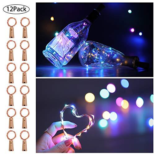 LED Flaschenlicht, AIBOO 12 Stück 20 LEDs Weinflasche Lichter mit Kork, 2M Lichterkette Kupferdraht Batterie, Mini Glas Korken Licht DIY Deko für Weihnachtsfeier, Hochzeit und Geburtstagsfeier (Bunt)