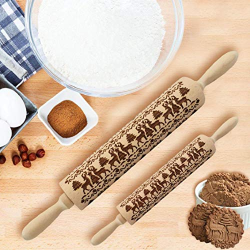 Heekpek Christmas Embossed Rolling Pin Wood Embossed Rolling Pins Wooden Rolling Pins with Christmas Patterns for Baking Cookies Cakes Pastry Dough Pie Xmas New Year Gift (Trees and Reindeers, Large)