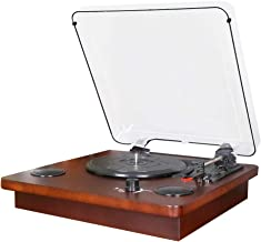 PC Encoding Record Player,3-Speed Vinyl Turntable Built-in 2x1W Bluetooth Speakers, RCA/AUX/Headphone Jack Record Player
