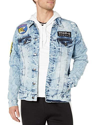 Southpole Men's Aian Utility Premium Fashion Denim Jacket, Light Sand Blue King Tiger, Large