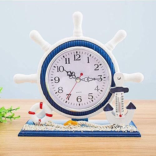 Daisy House mediterraner Stil, nautische Stille Schreibtischuhr Leuchtturm Helm Holzuhren Segelboot Lenkrad Regal Uhren Heimdekor Uhr Ornament 20 x 7 x 20 cm.