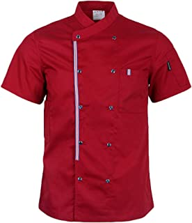 Prettyia Breathable Summer Chef Jackets Coat Short Sleeves Kitchen Uniforms Food Service Work Apparel - Red, 2Xl