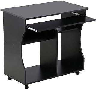 Yaheetech Meuble Bureau Informatique pour Ordinateur à roulettes avec Grand Support Clavier Coulissant 4 étagères Noir