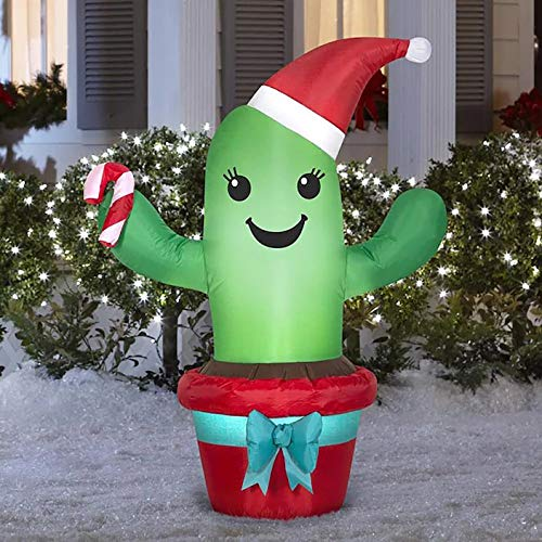Gemmy Christmas 3.5' Tall Christmas Cactus with Red Santa Hat Airblown Yard Inflatable Indoor/Oudoor Holiday Decoration