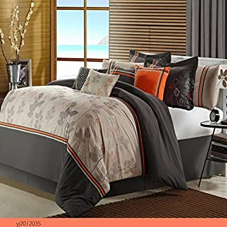 Boca Taupe Queen 12 Piece Embroidered Comforter Bed In A Bag With Sheet Set