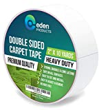 EdenProducts Double Sided Sticky Carpet Tape for Area Rugs, Carpets & Mats - Heavy Duty Multi Purpose Cloth Rug Gripper, Hardwood Safe & Removable - Indoors & Outdoors - 2' x 10 Yards, White
