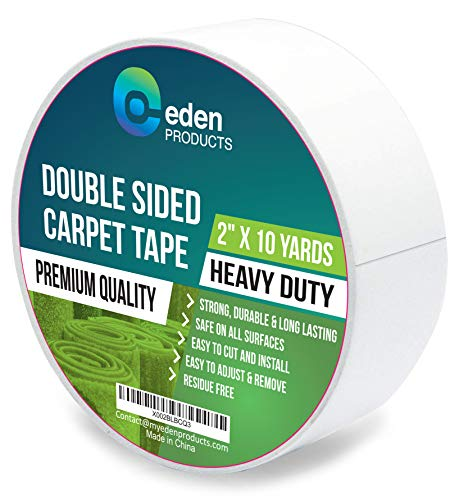 """EdenProducts Double Sided Sticky Carpet Tape for Area Rugs, Carpets & Mats - Heavy Duty Multi Purpose Cloth Rug Gripper, Hardwood Safe & Removable - Indoors & Outdoors - 2"""" x 33 Yards, White"""