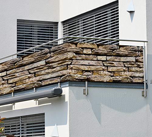 MyMaxxi Balkon Sichtschutz | Stone 3 x 0,9m | Abdeckung für Terasse Balkon | Windschutz Sonnenschutz Blickdicht | Balkonverkleidung wetterfest Sichtschutz Zaun | Verkleidung