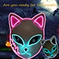 Demon Slayer Halloween Mask LED Light Up Mask Anime Cosplay Halloween Costume Masquerade Parties,Gifts by