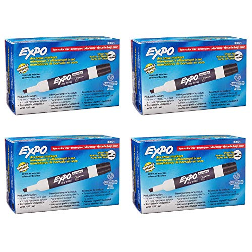Expo 80001 Low Odor Chisel Point Dry Erase Markers, Low Odor Alcohol-Based Ink, Designed for Whiteboards, Glass and Most Non-Porous Surfaces, Black, 12 Units per Box, Pack of 4 Boxes, 48 Markers Total