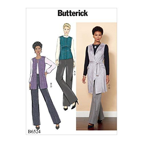 Butterick Patterns 6524A5 6524 Schnittmuster für Damen-Weste, Gürtel und Hose, A5, Tissue, Mehrfarbig, 17 x 0.5 x 22 cm