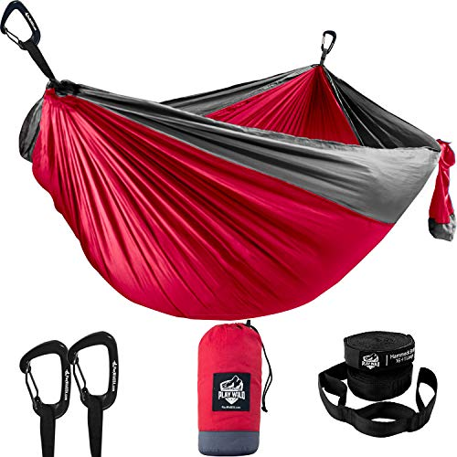 Double Hammock for Camping, Travel and Hiking - 2 Person Outdoor Hammock - Lightweight & Portable Yet Heavy Duty with Straps Included for Easy Hanging from Trees - Great Camping Gifts for Men & Women
