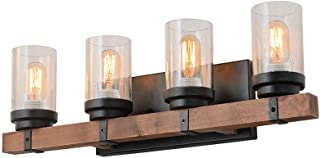 Anmytek Metal Wall Sconce Lighting with Bubble Glass Shade Oil Black Finished Vintage Industrial Wall Lamp Rustic Wall Sconces Antique Edison Decorative Wall Light Fixture 4-Lights (W0034)