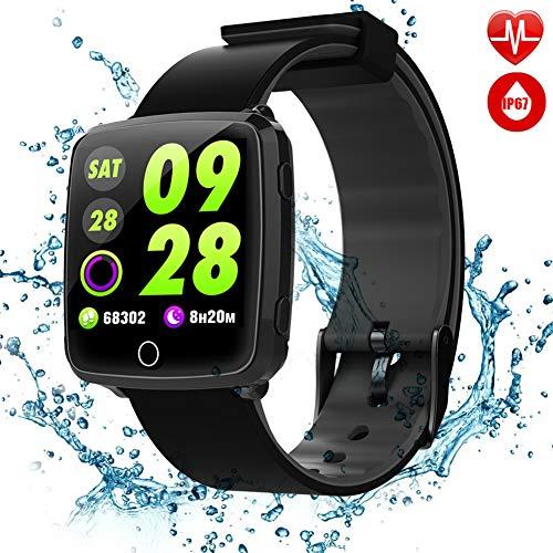 TagoBee TB09 IP67 Pulsera de Actividad Fitness Tracker smartwatch Monitorización de la presión Arterial Notificaciones Recordar Compatible con iPhone y Android(Black)