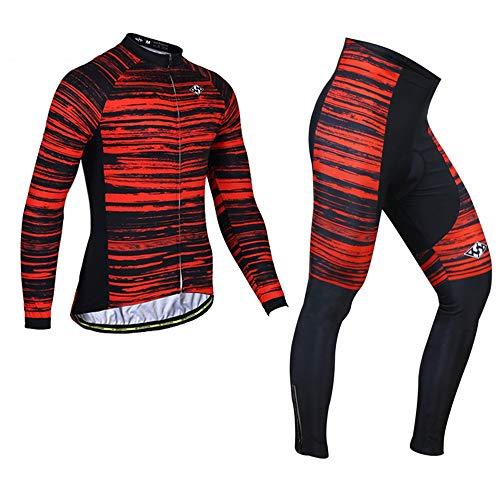 Jersey Jersey Vélo Hiver Mens - Pantalons Combo Ensemble Bike Vélo VTT Vêtements Vêtements Vêtements Cuissons Rouge (Size : Medium)