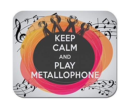 Makoroni - Keep Calm and Play METALLOPHONE - Non-Slip Rubber - Computer, Gaming, Office Mousepad