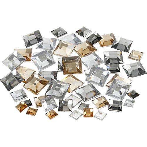Strasssteine, Größe 6+9+12 mm, Silbertöne, viereckig, 360sort.