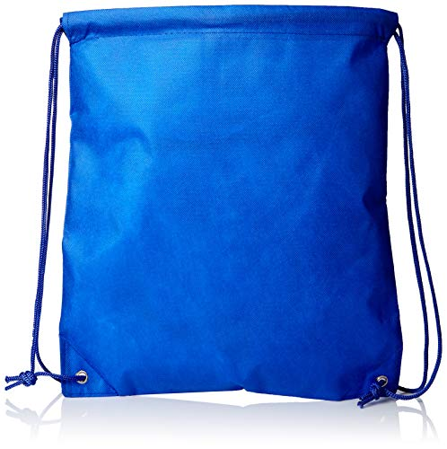 Promotional Nonwoven Drawstring Backpack Sport Cinch Bags for Gym, School, Hike, Royal, Set of 50