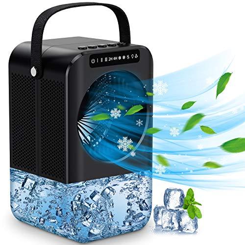 Mini Raffreddatore D'aria, 3 velocità condizionatore portatile 600ML Serbatoio Basso Rumore condizionatore portatile caldo e freddo con 7 Colori Luce per casa e ufficio, 2/4H Timer